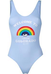 Chiara Ferragni Maiô 'Welcome To Colorado' - Azul
