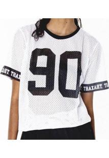 Camiseta Traxart Long Line Feminina - Dv-141 - Feminino-Branco+Azul