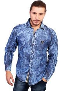 Camisa Manga Longa Polo Marmorizado Jeans - Masculino-Azul