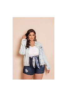 Jaqueta Jeans Plus Size Bordada