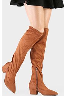 Bota Bebecê Over The Knee Elástico - Feminino-Caramelo