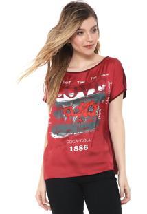 Blusa Coca-Cola Jeans Cetim Estampada Vermelha