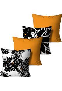 Kit Com 4 Capas Para Almofadas Pump Up Decorativas Amarelo Ocre Flores 45X45Cm