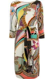 Etro Vestido Com Estampa Paisley E Amarração Na Cintura - Neutro