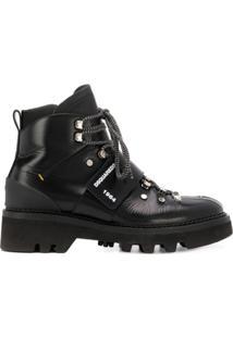 Dsquared2 Ankle Boot Com Amarração - Preto