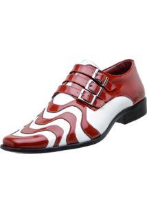 Sapato Social Gofer Verniz Vermelho E Branco
