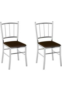 Kit 2 Cadeiras Pc12 Assento Nobuck Marrom - Pozza