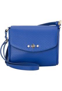 Bolsa Transversal Em Couro Com Tag- Azul- 15X21X10Cmcarmen Steffens