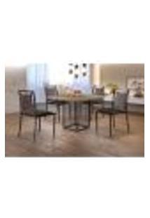 Conjunto De Mesa De Jantar Hera Com Tampo Siena E 4 Cadeiras Grécia Ii Couríssimo Preto E Café