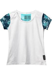 Camiseta Baby Look Feminina Algodão Estampa Flor Manga Curta Azul-Preto G Branco - Kanui