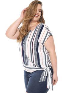 Blusa Cativa Plus Listrada Branca/Azul-Marinho