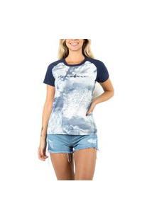 Camiseta Nicoboco Feminina Tshirt Digital Sunflower Marinho (76043)
