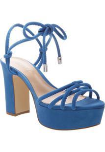 Sandã¡Lia Meia Pata Com Aviamentos- Azul- Salto: 10,5Schutz