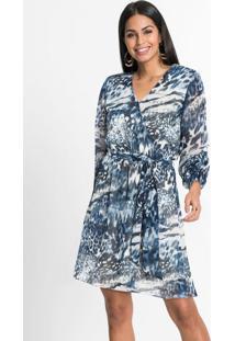 Vestido Com Amarração Animal Print Onça Azul