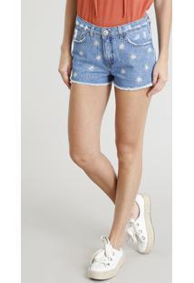 Short Jeans Feminino Boy Bordado De Margaridas Azul Médio