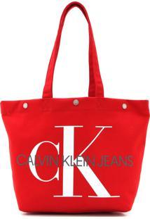 Bolsa Calvin Klein Monograma Vermelha - Vermelho - Feminino - Dafiti