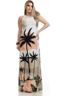 Vestido Longo Clara Arruda Costa Transpassada Feminino - Feminino-Bege+Coral