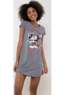 Camisola Listrado Mickey E Minnie Em Material Sustentável