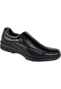 Sapato Conforto Couro Cazzac Masculino - Masculino-Preto