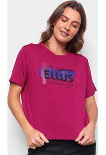 Blusa Ellus Jersey Glitter Feminina - Feminino-Vinho