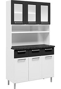 Armário De Cozinha Aço 8 Portas 5 Portas De Vidro 3 Gavetas Múltipla Bertolini Branco/Preto