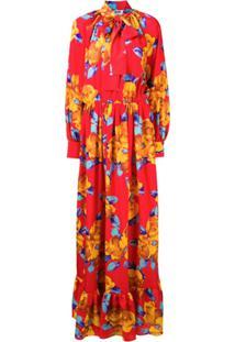 Msgm Vestido Longo Floral - Vermelho