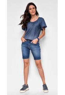 Bermuda Jeans Express Pedal Stela - Feminino-Azul