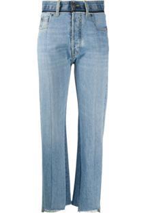 Maison Margiela Calça Jeans Com Recorte Contrastante - Azul