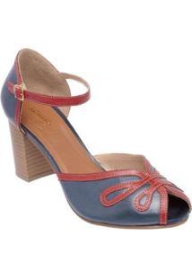 Sandália D&R Shoes Couro Feminina - Feminino-Marinho+Vermelho