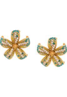Versace Par De Brincos Com Aplicação Floral - Dourado