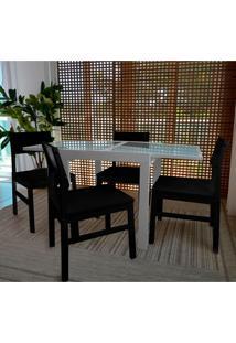 Conjunto De Mesa De Jantar Extensível Pólito Com 4 Cadeiras Carioca Branco E Preto
