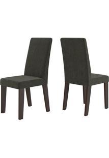 Cadeiras Kit 2 Cadeiras Nobre 14106 Ameixa/Marrom - Viero Móveis