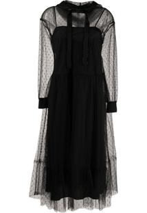 Redvalentino Point D'Esprit Hooded Tulle Dress - Preto