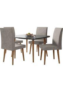 Mesa De Jantar Com 4 Cadeiras Jade Pés Palito Black Com Pena Caramelo Rv Móveis