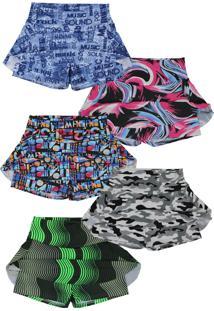 Shorts Saia Plus Size Kit 5 Peças Moda Fitness Academia