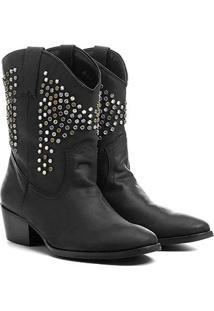 Bota Couro Country Shoestock Tachas E Pedras Feminina - Feminino-Preto