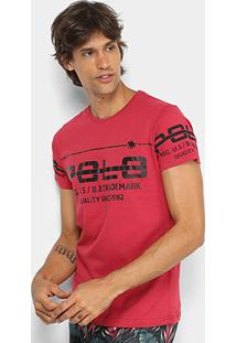 Camiseta Rg 518 Meia Malha Estampada Masculina - Masculino-Vermelho