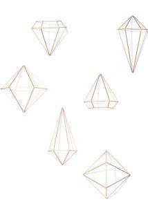 Conjunto Com 6 Enfeites De Parede Prisma Cobre