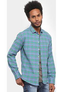 Camisa Xadrez Manga Longa Colcci Slim Masculina - Masculino-Verde