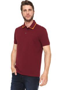 Camisa Polo Ellus Reta Collar Frame Vinho/Laranja