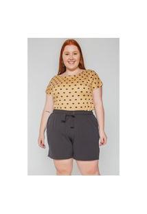 Kaue Plus Size Blusa Poá Plus Size Bege Blusa Poá Plus Size Bege Ex