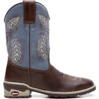 Bota Texana Azul Com Pinhao Bico Quadrado 02145 - Masculino-Marrom+Azul e5f8a0045f4cf