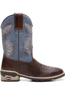 Bota Texana Azul Com Pinhao Bico Quadrado 02145 - Masculino-Marrom+Azul