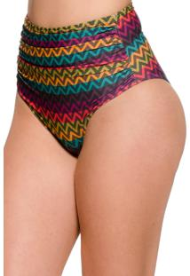 Calcinha Blue Horse Paola Hot Pants Retro Franzido Lycra Estampado Zig Zag