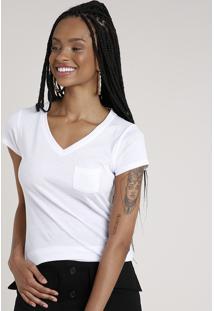 Blusa Feminina Básica Com Bolso Manga Curta Decote V Branca