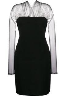 Karl Lagerfeld Vestido Midi Com Tule - Preto