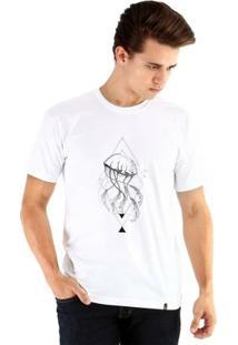 Camiseta Ouroboros Manga Curta Água-Viva Masculina - Masculino-Branco