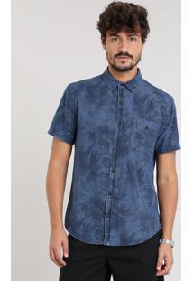 Camisa Jeans Masculina Estampada De Folhagem Com Bolso Manga Curta Azul Escuro