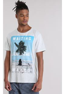 "Camiseta Mescla ""Waiting For The Waves"" Off White"