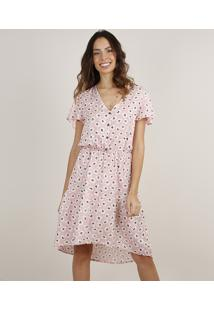 Vestido Feminino Midi Mullet Estampado Floral Com Botões Manga Curta Rosa Claro